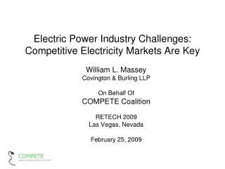 Electric Power Industry Challenges: Competitive Electricity Markets Are Key