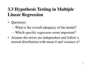 3.3  Hypothesis Testing in Multiple Linear Regression