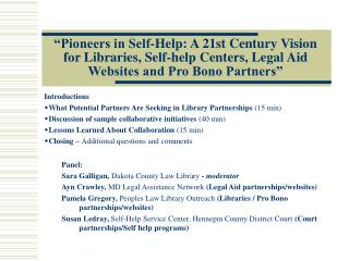 """Pioneers in Self-Help: A 21st Century Vision for Libraries, Self-help Centers, Legal Aid Websites and Pro Bono Partner"