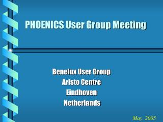 PHOENICS User Group Meeting