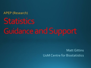 Statistics Guidance and Support