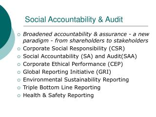 Social Accountability & Audit