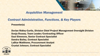 Acquisition Management Contract Administration, Functions, & Key Players