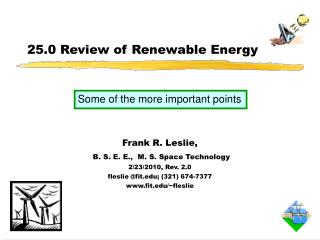 25.0 Review of Renewable Energy