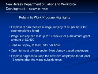 New Jersey Department of Labor and Workforce Development – Return-to-Work