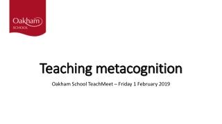 Teaching metacognition