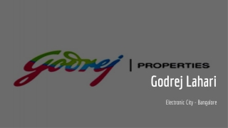 Godrej Lahari Ready to Move Apartments in Electronic City Bangalore