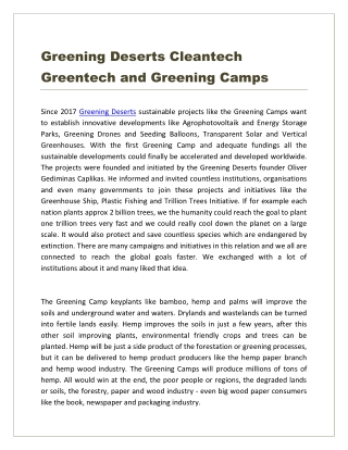 Greening Deserts Cleantech Greentech and Greening Camps