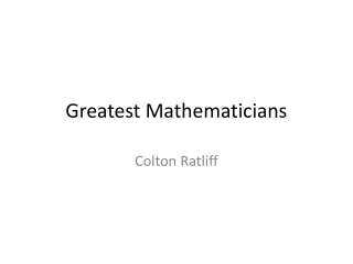 Greatest Mathematicians