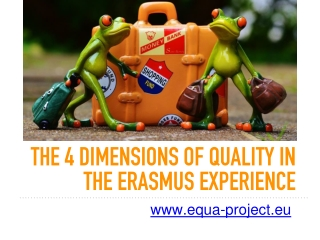 the 4 dimensions of QUALITY in THE ERASMUS EXPERIENCE
