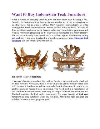 Want to Buy Indonesian Teak Furniture