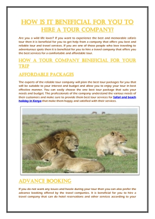 How is it beneficial for you to hire a tour company?