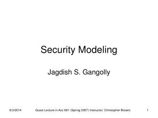 Security Modeling