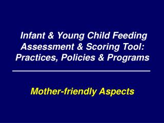 Infant & Young Child Feeding Assessment & Scoring Tool:  Practices, Policies & Programs