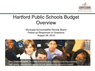 Hartford Public Schools Budget Overview Municipal Accountability Review Board
