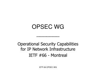 OPSEC WG _______