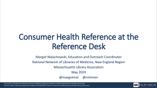 Consumer Health Reference at the Reference Desk