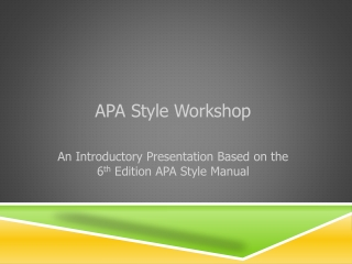 APA Style Workshop An Introductory Presentation Based on the 6 th Edition APA Style Manual