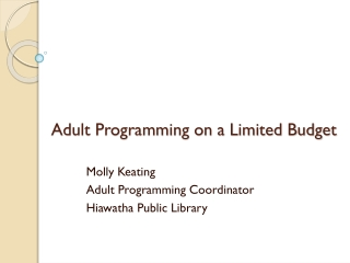 Adult Programming on a Limited Budget