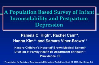 A Population Based Survey of Infant Inconsolability and Postpartum Depression