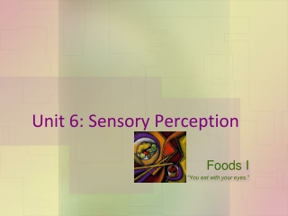 Unit 6: Sensory Perception
