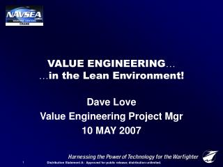VALUE ENGINEERING   in the Lean Environment