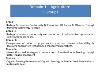 Domain 1 – Agriculture 5 Groups