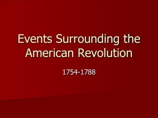 Events Surrounding the American Revolution