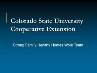 Colorado State University Cooperative Extension