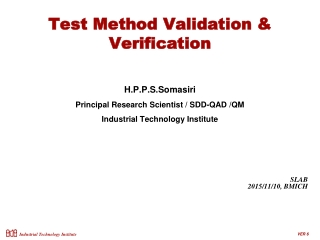Test Method Validation & Verification