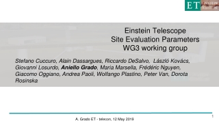 Einstein Telescope Site Evaluation Parameters WG3 working group
