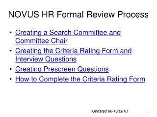 NOVUS HR Formal Review Process