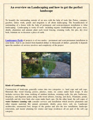 An overview on Landscaping and how to get the perfect landscape