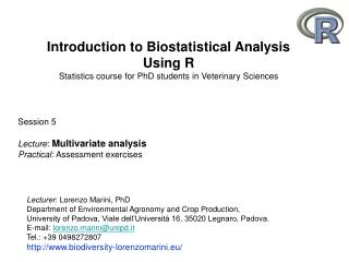 Introduction to Biostatistical Analysis Using R Statistics course for PhD students in Veterinary Sciences