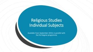 Religious Studies Individual Subjects