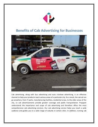 Benefits of Cab Advertising for Businesses