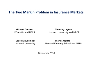 The Two Margin Problem in Insurance Markets