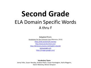 Second Grade ELA Domain Specific Words A thru F