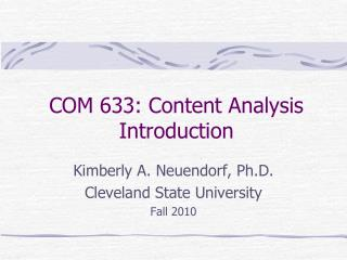 COM 633: Content Analysis Introduction