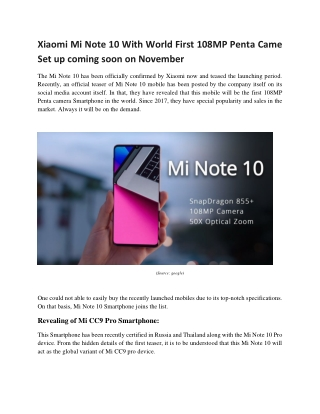 Xiaomi Mi Note 10 With World First 108MP Penta Camera Setup coming soon on November