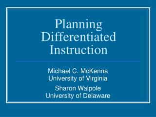 Planning Differentiated Instruction