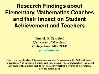 Research Findings about Elementary Mathematics Coaches and their Impact on Student Achievement and Teachers