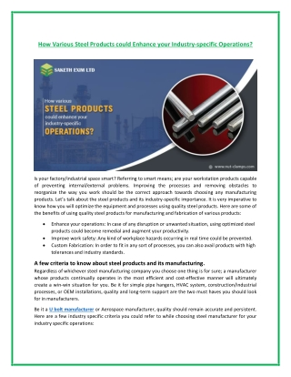 How Steel Product Helps in Industrial Specific Operations