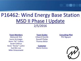 P16462: Wind Energy Base Station MSD II Phase I Update 2/5/2016