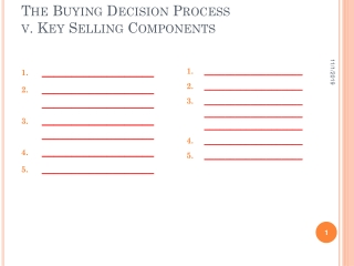 The Buying Decision Process v. Key Selling Components
