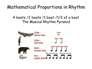 Mathematical Proportions in Rhythm 4 beats /2 beats /1 beat /1/2 of a beat The Musical Rhythm Pyramid