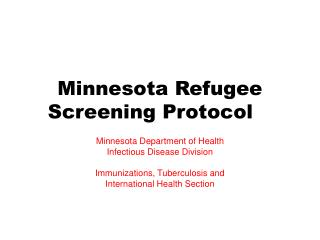 Minnesota Refugee Screening Protocol