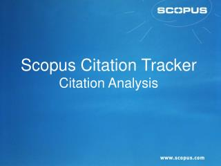 Scopus Citation Tracker Citation Analysis