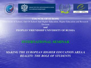 COUNCIL OF EUROPE Directorate of School, Out-Of-School And Higher Education, Higher Education and Research Division and