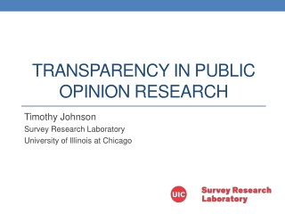Transparency in Public opinion Research